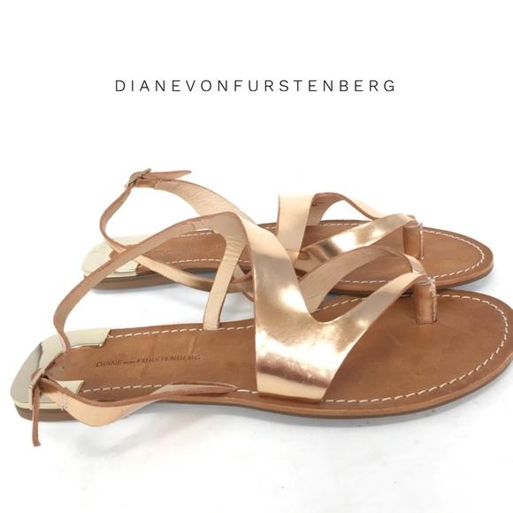 17258b67fabcb Diane Von Furstenberg Shoes - DVF gold leather flat sandals